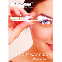 Wholesale New Excellent Bright LED Eyebrow Tweezers plier Light Stainless Steel Tweezer for Ladies with Retail box