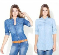 Wholesale Light Blue Denim Shirt Women - Buy Cheap Light Blue ...