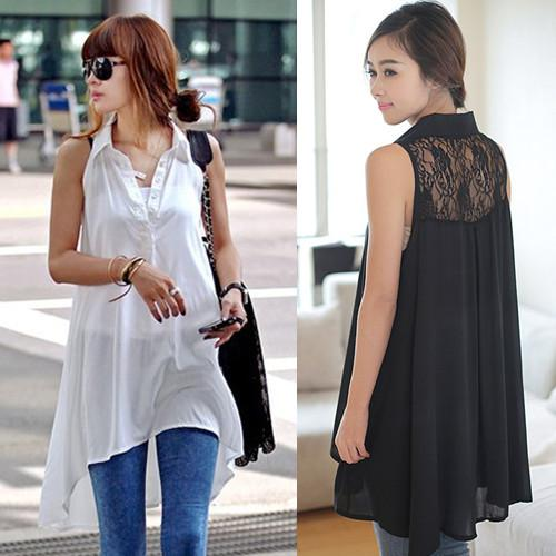 Wholesale-New 2015 Spring Summer Casual Plus Size M-XXL Pink White Black Long Loose Lace Shirts Sleevesless Tank Blouses For Femal 199773