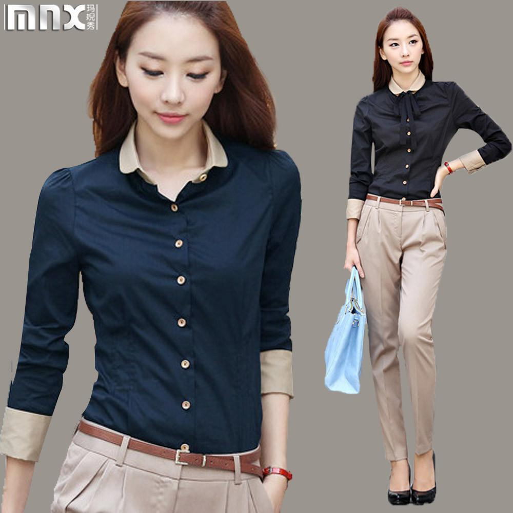 Wholesale-2015 Autumn New Patchwork Women Office Shirts Ladies OL ...