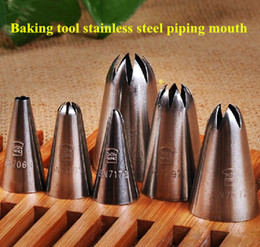 Wholesale Cake Mouth Nozzle - Wholesale-Cake Baking Pizza Making Sculpture Mold Suit Baking Tool Stainless Steel Piping Mouth Cream Biscuit Flower Extrusion Nozzle