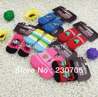 Wholesale and retail dog socks cotton pet socks Pet Dog Cat Footgear Footwear Non slip Shoes Socks Sets Hot