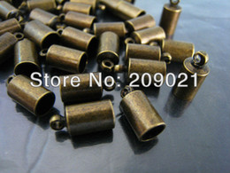 Wholesale-DIY 500pcs Antique Brass Round Tone Cord End Buckle Cap with Loop for Leathers Jewelry Finding