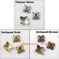 achat en gros de coupelles ton or-Gros-Livraison gratuite 800pcs Tibetan Silver Gold Bronze Tone Bead End Tiny-Feuille Caps gros 6mm
