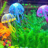 Wholesale PC Glowing Effect Vivid Jellyfish for Aquarium Fish Tank Garden Pool Ornament Decor