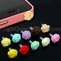 Wholesale mm Hot sale Pretty Flower Mini Resin Plastic Anti Dust Cap Dock Cover For iPhone