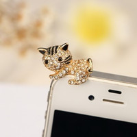order free cell phones - Min order is Mix order New Cute Rhinestone Kitty Cell Phone Dust Plugs