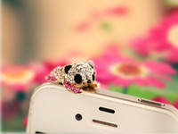Cheap Wholesale-MINI ORDER USD15(mixed) Free shipping Korea Cute small panda 3.5mm Crystal Dustproof Cell Phone Headset Dust Plug for iPhone