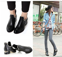 women shoes medium heel - A4ag new arrival women s boots rivet chain vintage british style pu leather star women shoes medium heels boots for