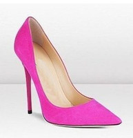 Cheap Wholesale-15newest arrival pink blue green pointy toe SEX high heel shoes suede leather wedding dress pumps
