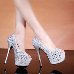 Wholesale-new 2015 14cm new fashion wedding party women red bottom high heels women pumps and lady high heels platform rhinestone pumps