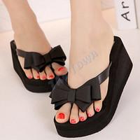 Cheap Wholesale-Good Nice New 2015 New Ladies Summer Fashion Women Platform Flip Flops Thong Wedge Beach Sandals Bowknot Shoes B16 SV007269