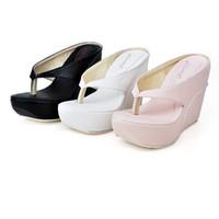 beach high heels - Plus Size Hot High Heels Women Flip Flops Summer Sandals Platform Wedges Slippers Girl s Fashion Beach Shoes