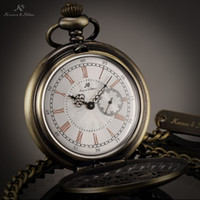 Cheap Wholesale-KS Antique Bronze Unique Skeleton Case Roman Numerals Japan Movement Quartz Analog Male Necklace Clock Men Pocket Watch KSP049