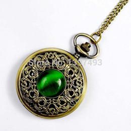 Montres de gros perle en Ligne-Vente en gros-Hot Vintage Bronze Green Pearl Jewelry Montre de poche antique Collier Horloge chaîne Quartz Pendentif Montre Hommes Femmes Fob