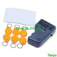 Wholesale RFID Handheld KHz ID EM4100 TK4100 chip card Copier Writer Duplicator with x blue ID key tag x ID white Card