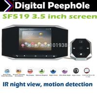 venta al por mayor de alta definición LCD de 3,5 pulgadas detección de opinión de la noche Mirilla Digital mirilla IR de vídeo y grabar la fotografía con timbre de movimiento