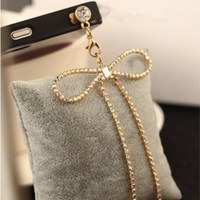 Cheap Wholesale-Min.order is $10(Mix order) Free Shipping New Rhinestone Bow Chain Cell Phone Dust Plugs