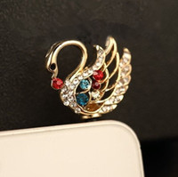 Cheap Wholesale-Min.order is $10(Mix order) Free Shipping New Cute Rhinestone Swan Cell Phone Plug Charms