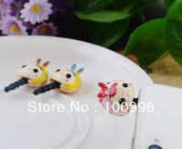 Cheap Wholesale-Free shipping,lovely happy girl Anti Dust cell phone dust plug charm, phone dust plug min $15 mix order 6Pcs Lot