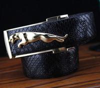 Gros-Détaillants haute qualité Jaguar boucle, Ceintures Noir Elégant ALLIGATOR Motif en cuir véritable homme, hommes et femmes de luxe Ceinture,