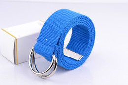 Wholesale-2015 New Fashion Candy Color Mens Womens Unisex Solid Color Webbing Cotton Canvas Belt With Metal Double D-Ring Buckle