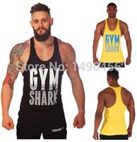 Wholesale Mens Gym Shark Sports Tops Cotton Vest Muscle Shirt Sleeveless Singlet Fitness Tank Top Bodybuilding Undershirt Men Vest