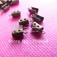 Cheap Wholesale-fit for 4mm round leather and 3*3mm square leather cord Bronze plated leather cord End Caps