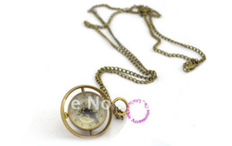 Wholesale buyer price good quality girl woman lady new bronze Harry Potter spin glass ball mechanical steampunk pocket watch