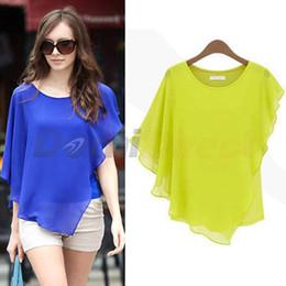Wholesale-Women's summer chiffon blouse shirts with ruffles design batwing sleeve short sleeve o-neck solid batwing shirt