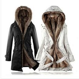 Wholesale Gros de la nouvelle veste d hiver femme Fausse fourrure doublure en coton à Capuche épaisseur slim fit des vêtements de taille plus long manteau de fourrure Parka thermique
