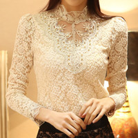 bargains plus - New Arrival Spring Bargain Women New Fashion long sleeve Crochet Lace Chiffon blouse amp shirt plus size S XXL HOT SALE