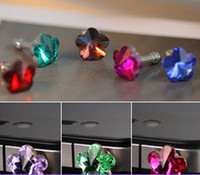 Cheap Wholesale-11O36S Min. order $10 (mix order) Free Shipping Shiny Rhinestone Flower Plum Blossom 3.5mm Earphone Dust Plugs for Cell Phones