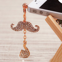 Cheap Wholesale-The Newest Big Brand Phone Accessories Full Crystal Tobacco Pipe Beard Mobile Jewelry Phone Dust Plug SP070