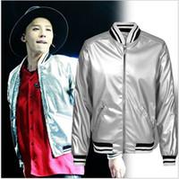 laurent - BIGBANG GD Fashion Saint Laurent Silver Jacket Popular Baseball Jacket Men