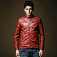 New Arrival 2015 fashion men's casual slim leather trench jacket male red motorcycle PU faux leather jacket