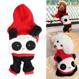 Wholesale-2015 Clearance Sale Pet Dog Puppy Clothes Cute Panda Hoodie with Cap Jumpsuit Apparel XS S M L XL
