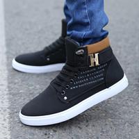 Botines nuevas zapatillas de deporte de alta superior zapatos elevadores manera Wholesale-2015 para los hombres zapatos de skate casuales botas altas de los hombres