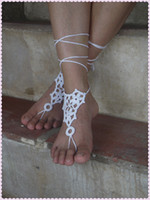 Wholesale Crochet Barefoot Sandals Nude shoes Foot Jewelry Beach Wedding Sexy Anklet Bellydance Beach Footwear Beach Volleyball