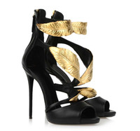 sandal fashion lady shoes - Presale new fashion golden Tree leaf sandals cm thin high heel lady shoes