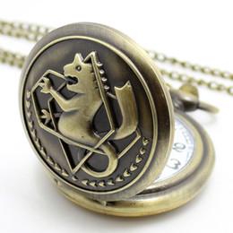 Wholesale-Vintage Bronze Edward Elric Watch Pocket Watch Pendant Necklace Gift for Men Women P422