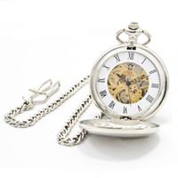 Wholesale Fashion Silver Steel Mechanical Pocket Watch Unisex Necklace Clock New GIFT FOB Fashion amp Leisure Necklace Pocket Watch