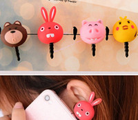 Cheap Wholesale-20Z85F Min. order $10 (mix order) Free Shipping Hot Sale Cartoon Silicon Dust Plug Animal Cat Bear Pig Design for Cell Phone