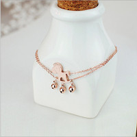 Cheap Wholesale-Free shipping Fashion Exquisite Lovely Rose Gold Plated Hobbyhorse Wooden Horse Jingle Bell Pendant Dress Bracelet Bangle Anklet