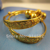 baby anklets - Hot Sale Pair Gold Plated Children Chinese Style Baby Kids Bell Bracelet Bangle Anklet