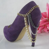 boot jewelry - Europe and America selling trinkets pearl boots chain heel shoe anklet foot chain body jewelry Charm Anklets PQJ19