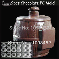 barrel mold - x3 x3cmx9cups Barrel Shape Chocolate Clear Polycarbonate Plastic Mold DIY Handmade Chocolate PC Mold Chocolate Tools Quality
