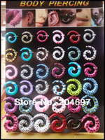 acrylic body jewelry display - Mix mm Logo Print UV Acrylic Spiral Taper Ear Stretcher Expander Plug Flesh Tunnel Body Piercing Jewelry with Display