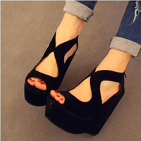 Cheap Wholesale-HOT Bandage Wedges Red Wedding Shoes Woman 2015 Spring-Summer High Heels Peep Toe Platform Sandals for Women Pumps