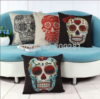 Cheap Wholesale-Vintage Personality Cotton Linen Skull Pillowcase 43cm*43cm Mix Styles Cushion Cover Pillow Case For Sofa Bed Cars Decoration